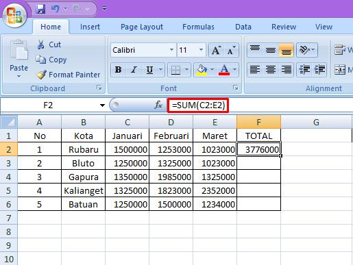 Cara Menjumlahkan Angka di Ms.Excel