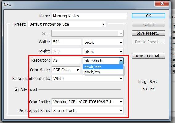Mengatur Ukuran Lembar Kerja atau Kanvas pada Photoshop 4