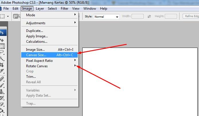 Mengatur Ukuran Lembar Kerja atau Kanvas pada Photoshop 5