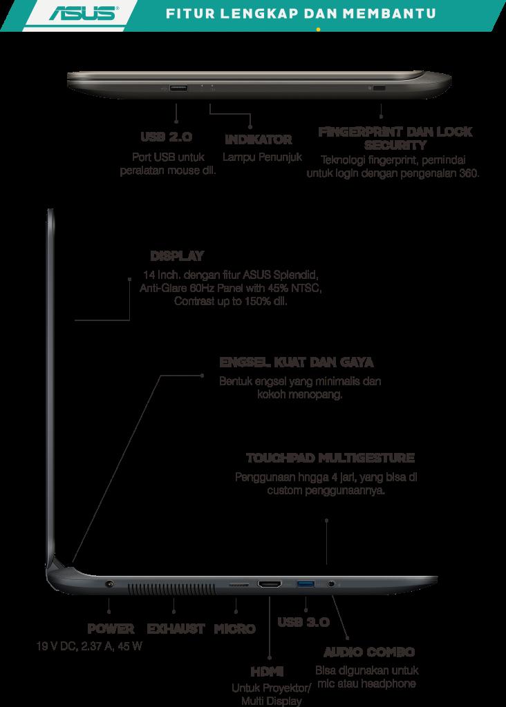 Fitur Asus VivoBook A407